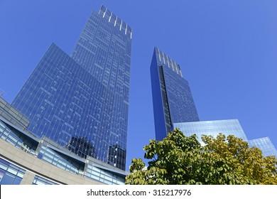 Glass skyscrapers in Manhattan, New York