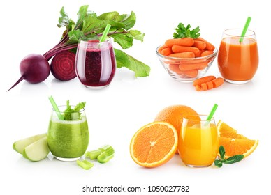 Glass with smoothies and juices isolated on white background. Beetroot and celery smoothies, orange and carrots juice. Collection.