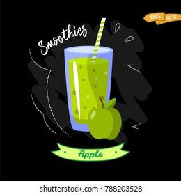 Glass of smoothies on black background. Apple. Summer design - good for menu design. Apple juice illustration