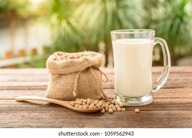 Glass of Soy Milk with soybean on wooden table and blur background with lighting in the morning,healthy concept.