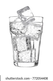 Glass of sparkling water soda drink lemonade with ice on white background