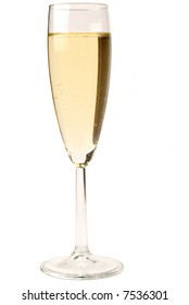 Glass of sparkling wine on white isolated background