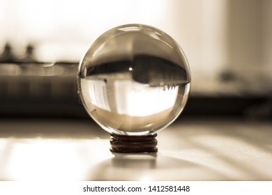 Glass sphere with mirrow view