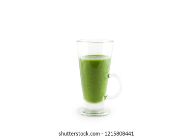 Glass of spinach juice isolated on white. Health food