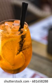A glass of spritz cocktail