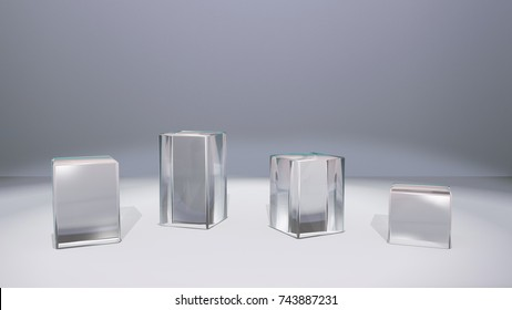glass squares stand for window display by 3D rendering