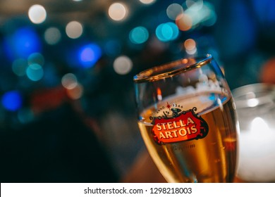 A glass of Stella Artois beer in a gastro bar.