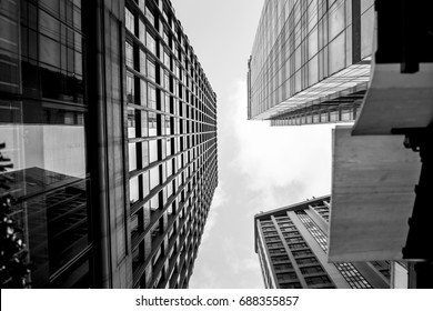 Glass surface view in district business centers with black and white color