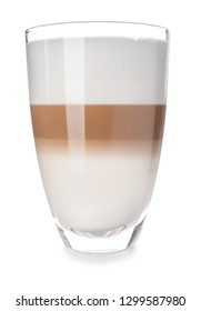 Glass of tasty aromatic latte on white background