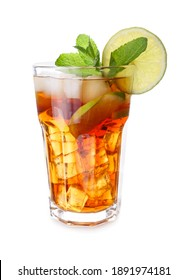 Glass of tasty cold ice tea on white background