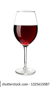 Glass of tasty wine on white background