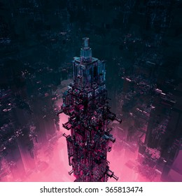 Glass technocore city / 3D render of futuristic science fiction structure