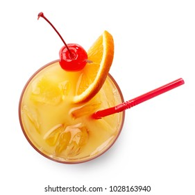 Glass of Tequila sunrise cocktail isolated on white background. Top view