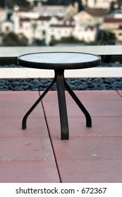 Glass top black table