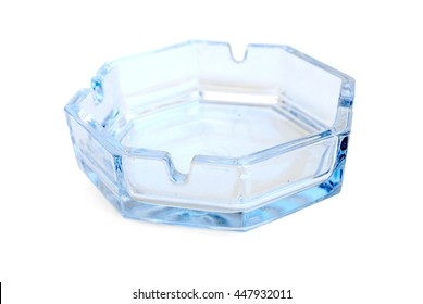 Glass Transparent Ashtray Isolated on White Background