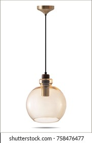 Glass transparent gold pendant light. Chandelier. Round.