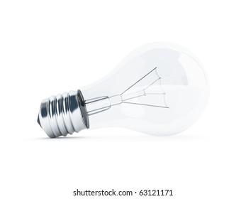 glass transparent light bulb on white background