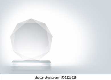 Glass Trophy Isolated On White Background