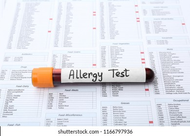 Glass tube with blood on document. Allergy test