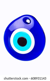 Glass Turkish eye on white background with clipping path.