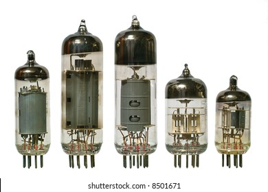 Glass vacuum radio tubes. Isolated image on white background