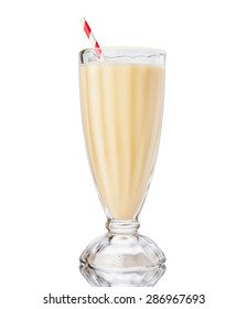 Glass of vanilla milkshake isolated on white background