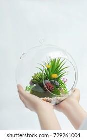 Glass vase plastic flowers on white background