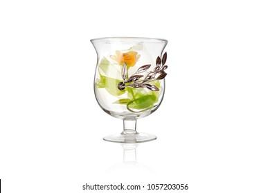 Glass vases on white background