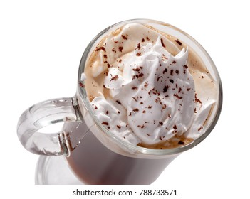glass of Viennese coffee top view close-up with whipped cream and chocolate chips isolated on  white background