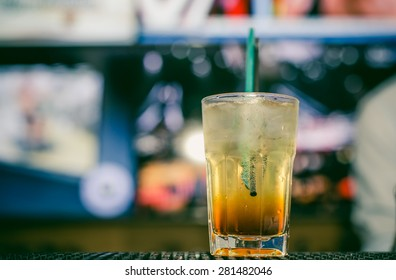 Glass of vodka with apple juice