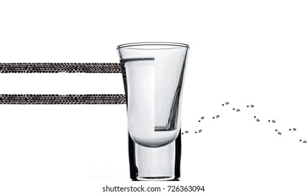 Glass of vodka.Concept photography don't drink and drive.Drink or drive