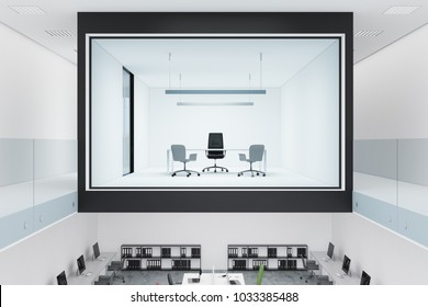 Glass wall CEO office interior in a two floor building with a large table and an office chair. 3d rendering mock up