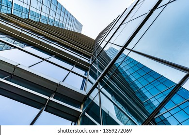 Glass wall in modern architecture