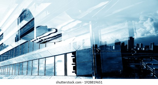 Glass wall of modern building