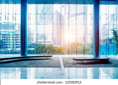 Glass wall in the office building - Shutterstock ID 129283913