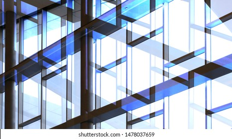 Glass walls with metal framework. Double exposure photo of office building exterior or interior fragment. Abstract modern architecture background with geometric structure of structural glazing.