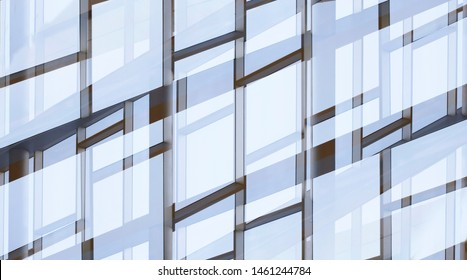 Glass walls with metal framework. Reworked photo of office building exterior or interior fragment. Windows. Abstract modern architecture background with geometric structure of structural glazing.