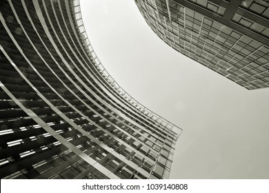 Glass walls of a office building - business background. Black and white
