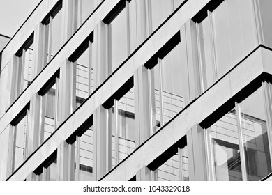 Glass walls of a office building - business background. Black and white.