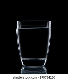 Glass water clear isolate on over black background