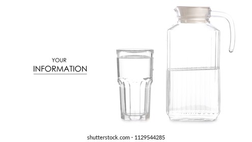 A glass of water a decanter jug with water pattern on a white background isolation