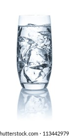 Glass with water and ice cubes on a white background