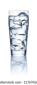 A glass of water and ice cubes on a white background