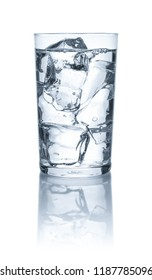 A glass with water and ice cubes on a white background