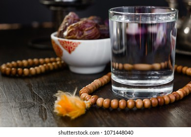 Glass of water for iftar opening on month ramadan