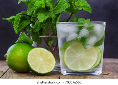 Glass water with mint, ice, lemon, line on wooden background