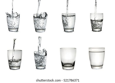 Glass of water on isolated white background.