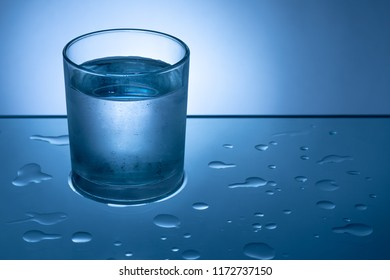 Glass of Water on Wet Surface