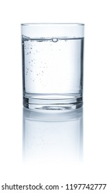 A glass with water on a white background