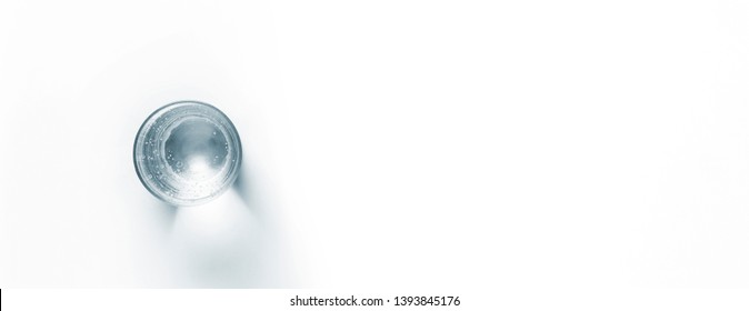 glass of water on white background, Top view with space for text, mockup for healthy concept
